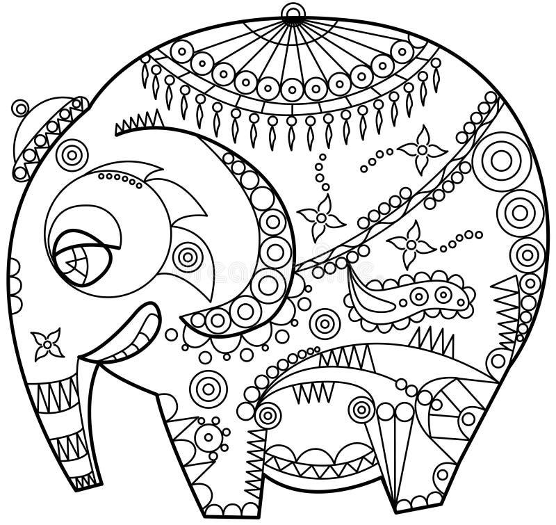 Ornated elefant vektor illustrationer