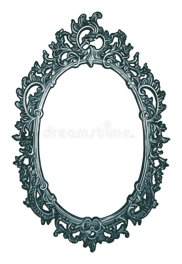 Ornately Decorated Realistic Oval Frame royalty free stock image