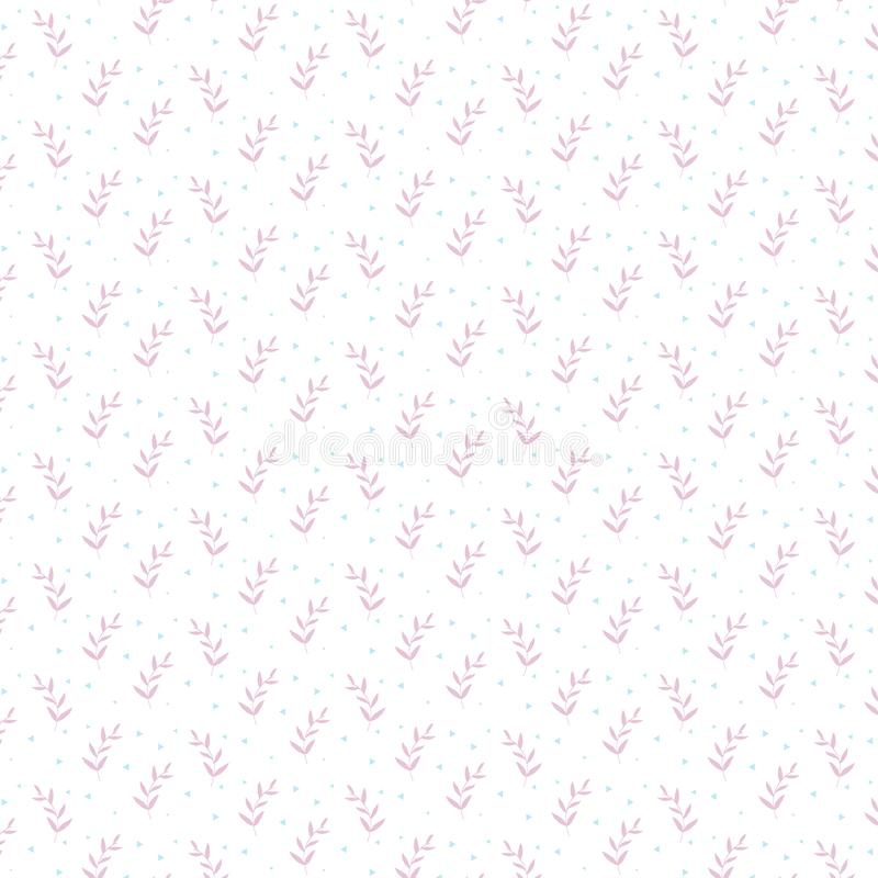 Ornement à la mode de modèle de minimalisme avec les usines roses d'herbe et les triangles bleues sur un fond blanc illustration de vecteur