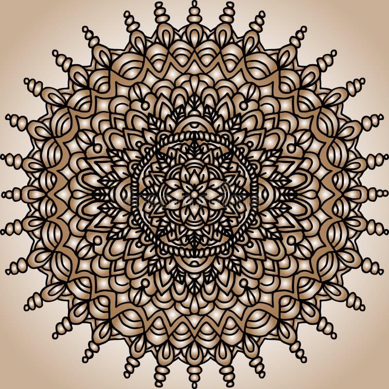 Ornement abstrait de mandala Configuration asiatique Fond authentique de gradient d'or illustration libre de droits