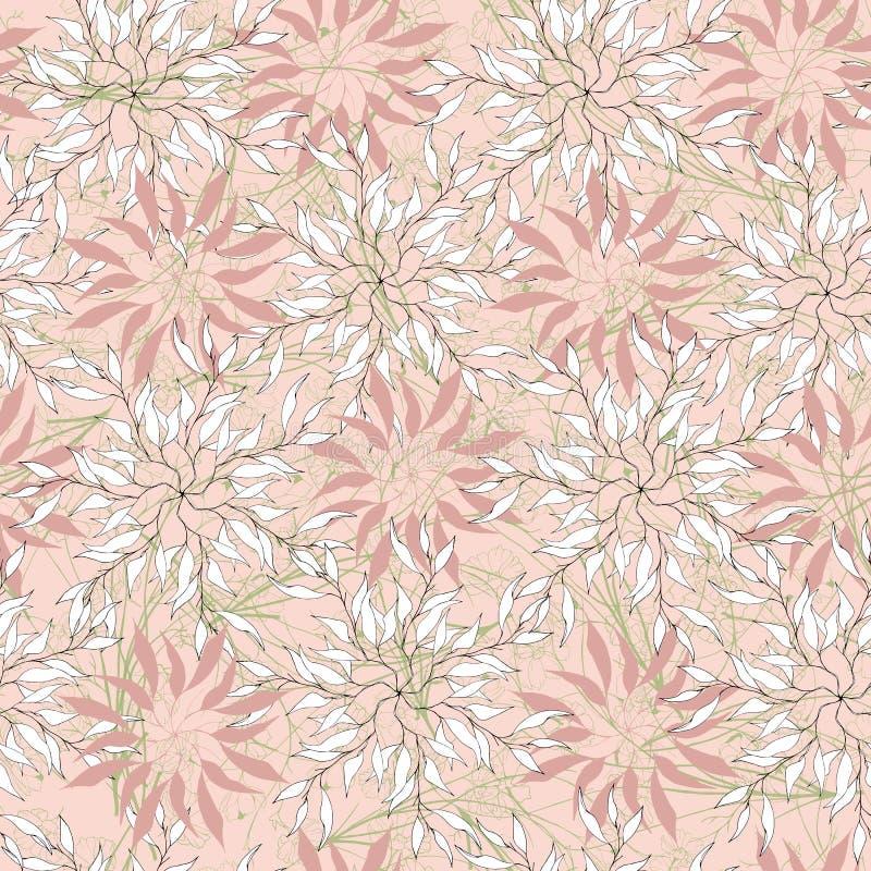 Ornement abstrait sur un fond rose Tons doux en pastel Texture sans couture pour le tkinini et les tuiles Illustration de vecteur illustration libre de droits