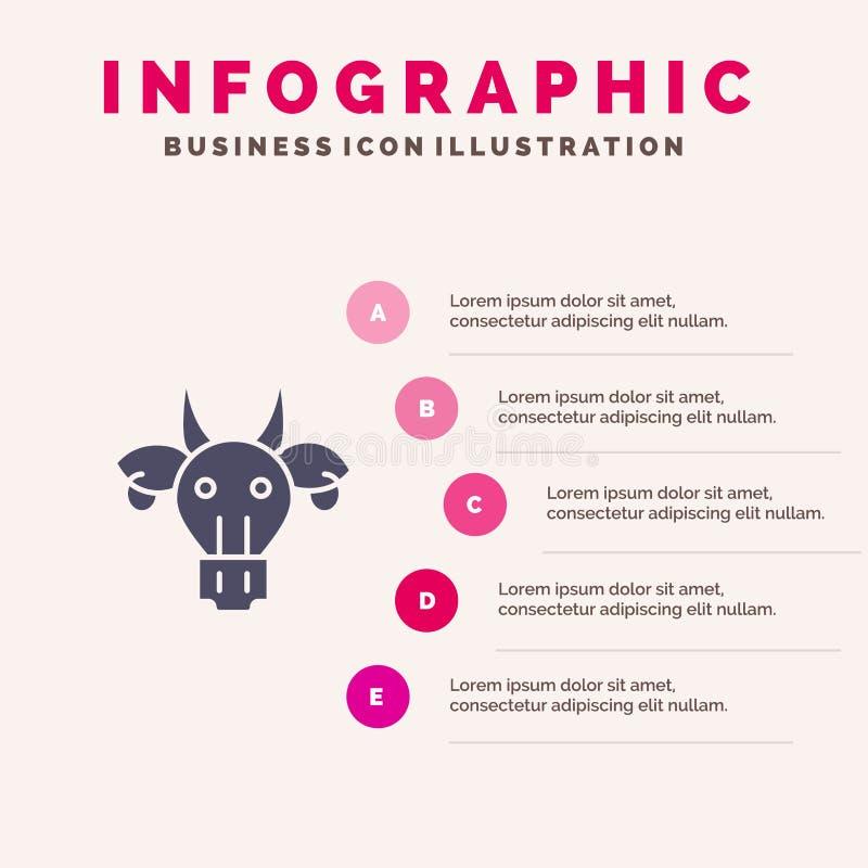 Ornement, animaux, Taureau, indien, fond solide de présentation d'étapes d'Infographics 5 d'icône de crâne images stock