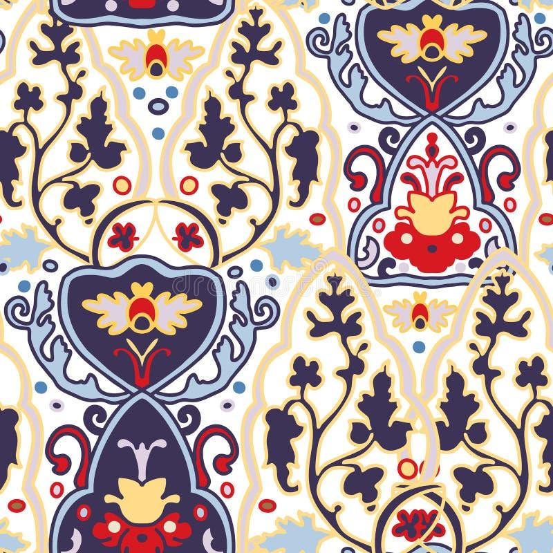 Ornement arabe traditionnel sans couture Configuration ornementale florale Iznik Vecteur Fond illustration libre de droits