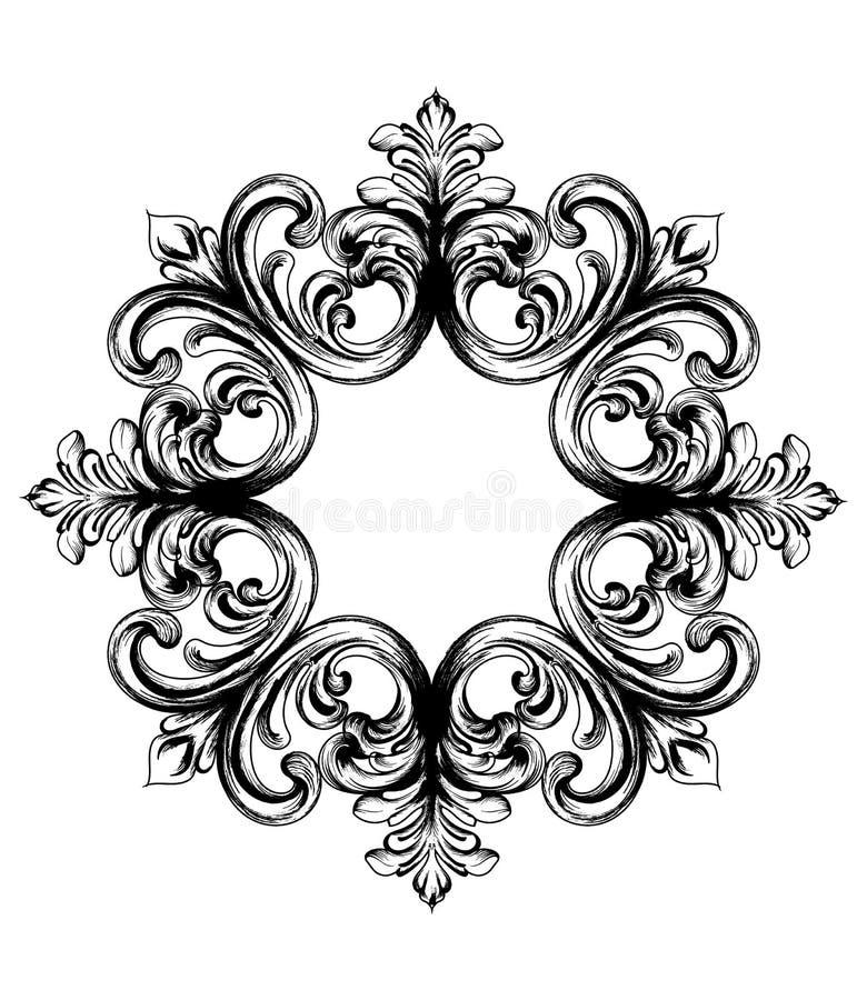 Ornement baroque de cru Calligraphie en filigrane d'élément décoratif de conception Décoration de mariage, salutation, cadre, méd illustration libre de droits