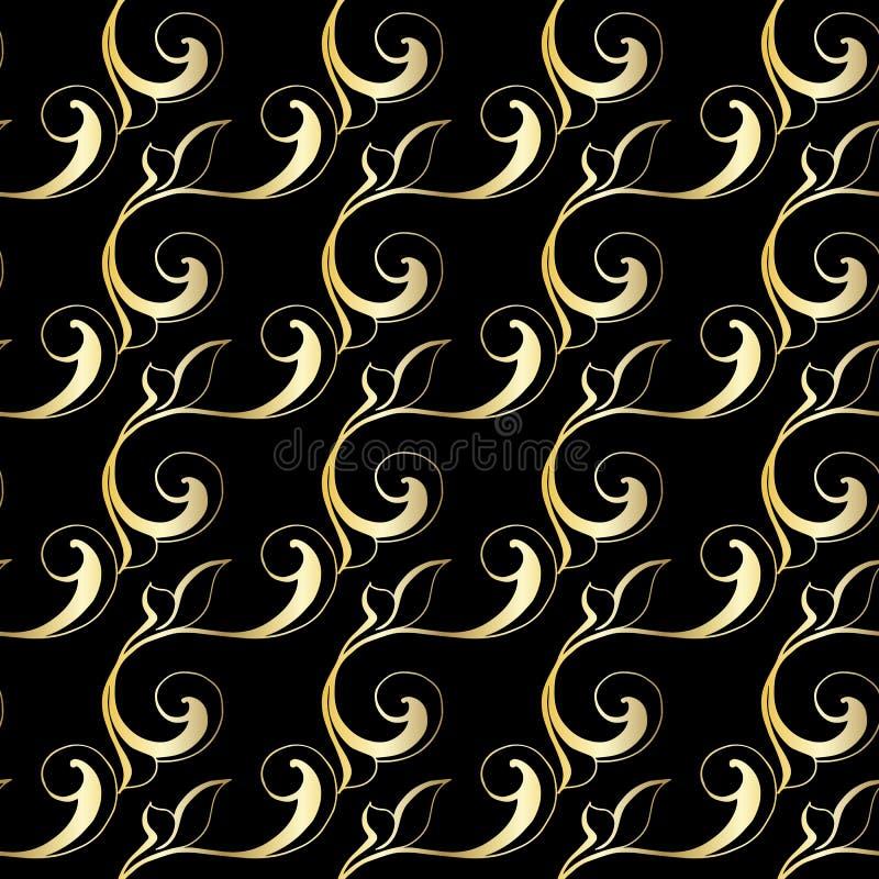 Ornement baroque de cru de vecteur Rétro acanthe de style d'antiquité de modèle Configuration sans joint illustration libre de droits