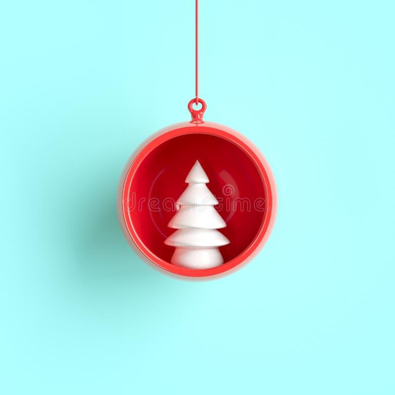 Ornement blanc de Noël d'arbre en verre rouge de mercure sur le fond bleu illustration stock