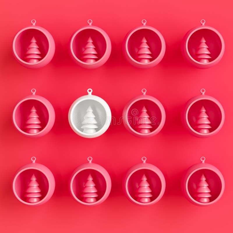 Ornement blanc exceptionnel de Noël en verre de mercure parmi les verres roses de mercure sur le fond rose illustration libre de droits