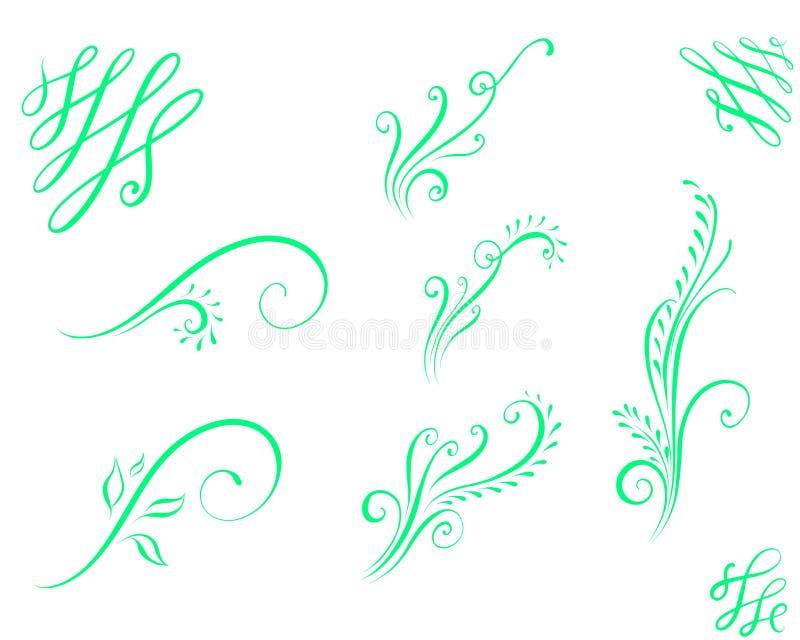 Ornement calligraphique épanoui pour des cartes illustration de vecteur