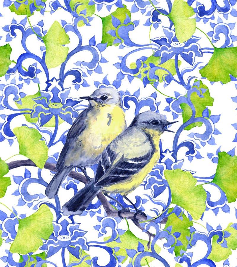 Ornement chinois avec des oiseaux et des feuilles vertes de ginko illustration libre de droits