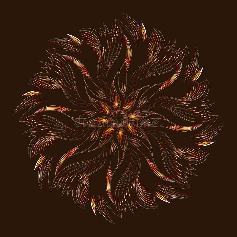 Download Ornement Circulaire Abstrait Sur Le Fond Brun Avec Des Couleurs Rouges, D'or Et Blanches Illustration de Vecteur - Illustration du floral, décor: 77154407