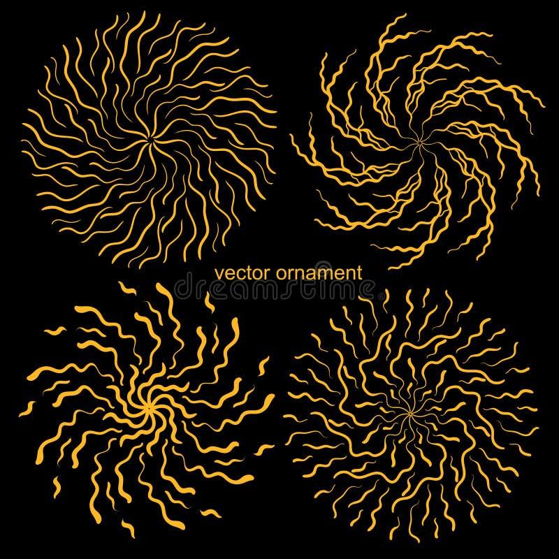 Ornement circulaire d'or, éclaboussure, texture illustration stock