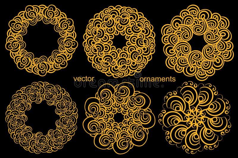Ornement circulaire d'or réglé dessinant à la main, logo iconique, le M illustration stock