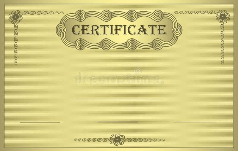Ornement d'or de certificat illustration libre de droits