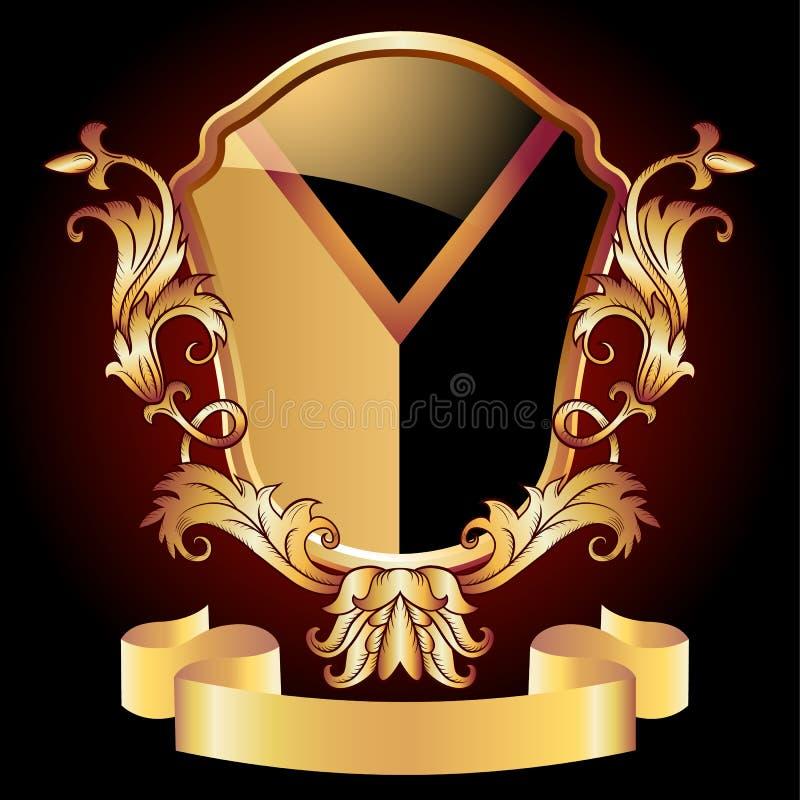 Ornement d'or fleuri de bouclier héraldique illustration libre de droits