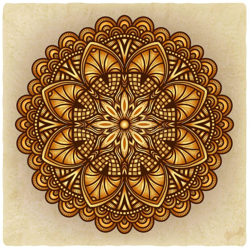 ornement d'or floral vieux fond de modèle circulaire illustration de vecteur
