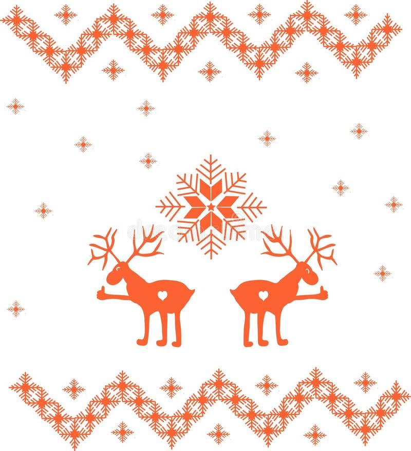 Ornement d'hiver avec des cerfs communs et des flocons de neige photo stock