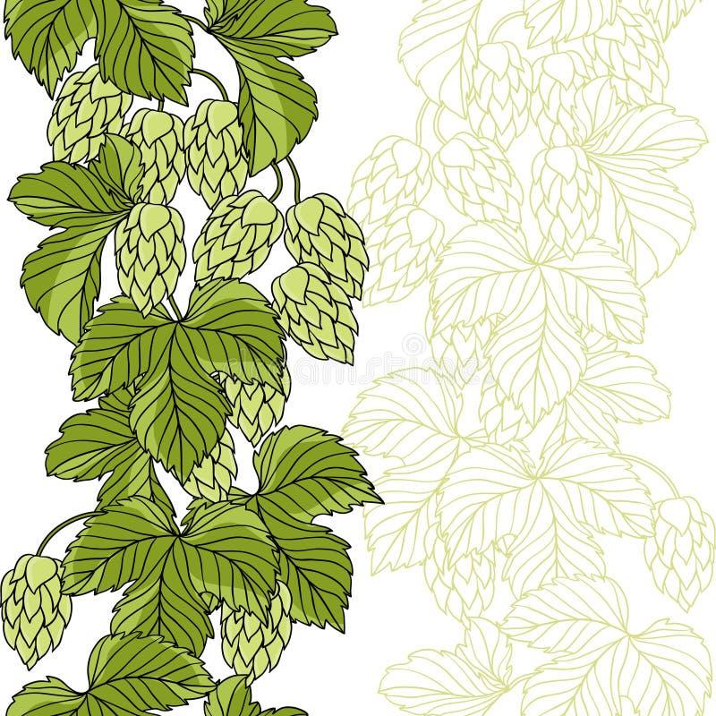 Ornement d'houblon sur le fond grunge vert illustration stock