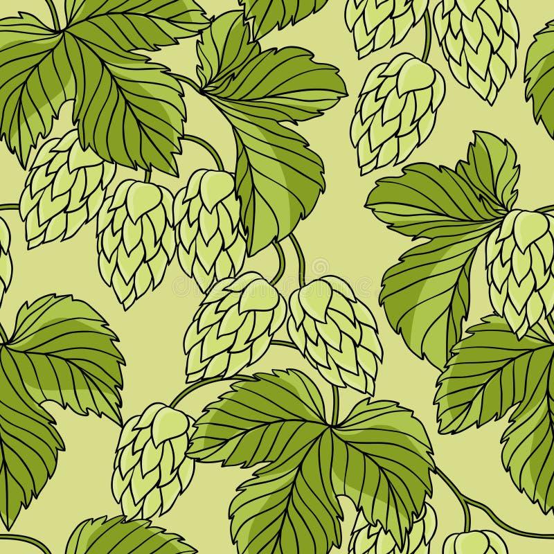 Ornement d'houblon sur le fond grunge vert, vecteur illustration de vecteur