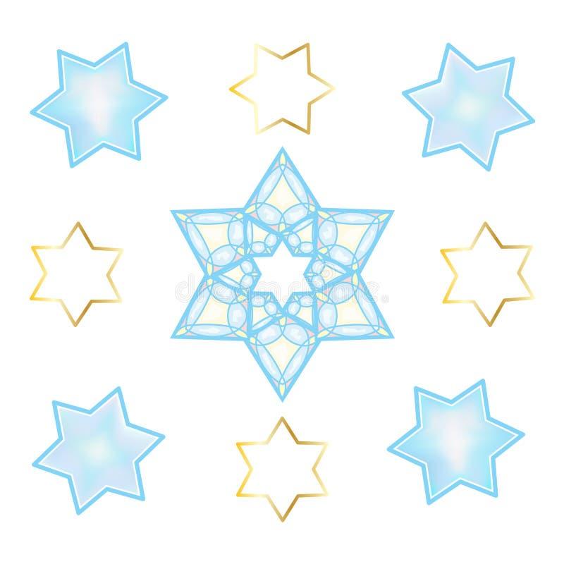 Ornement d'oriental d'étoiles de David de vacances illustration libre de droits