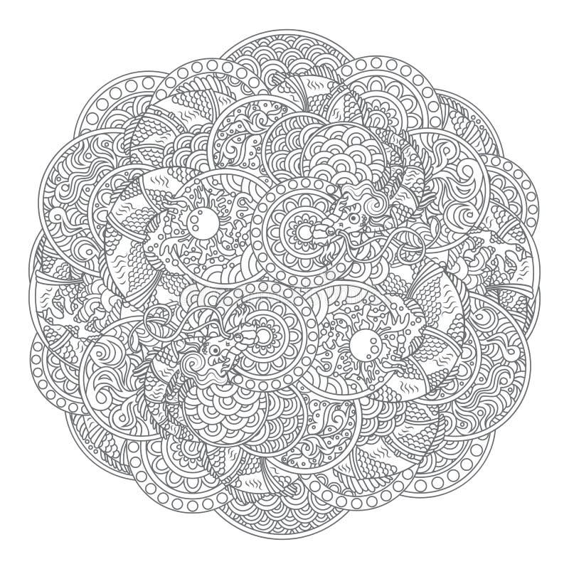 Ornement de cercle de dragon illustration stock