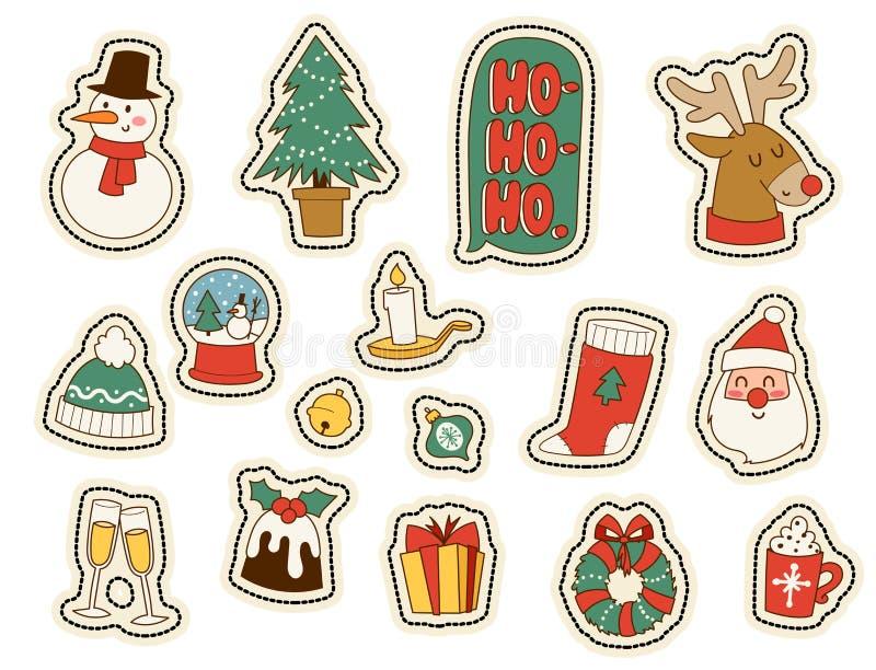 Ornement de décoration d'hiver de vacances de conception de célébration d'hiver de vecteur de symboles d'autocollants de carte de illustration de vecteur