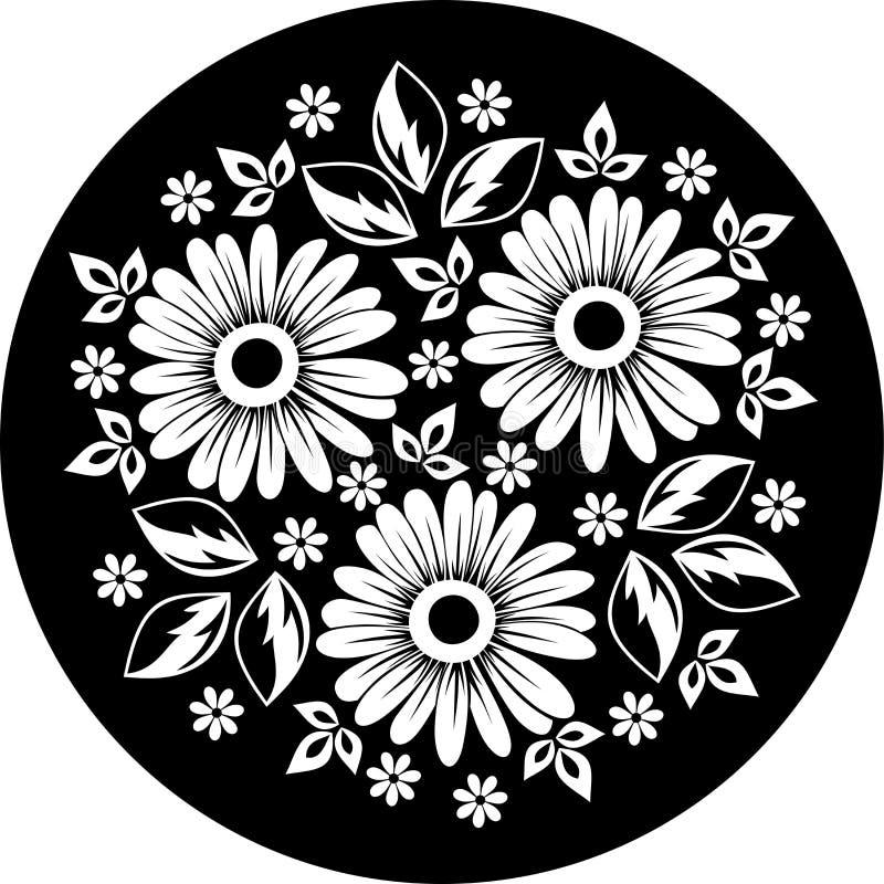 Ornement de fleur blanche sur un fond noir. illustration de vecteur