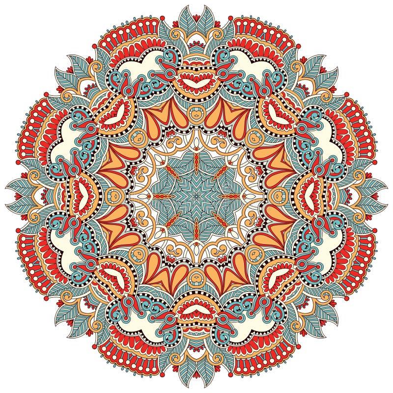 Ornement de fleur de cercle, dentelle ronde ornementale illustration stock