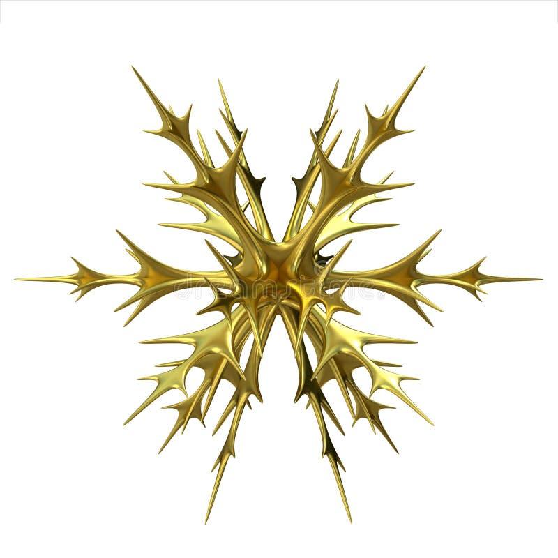 Ornement de flocon de neige de Noël d'or 3d rendent illustration libre de droits