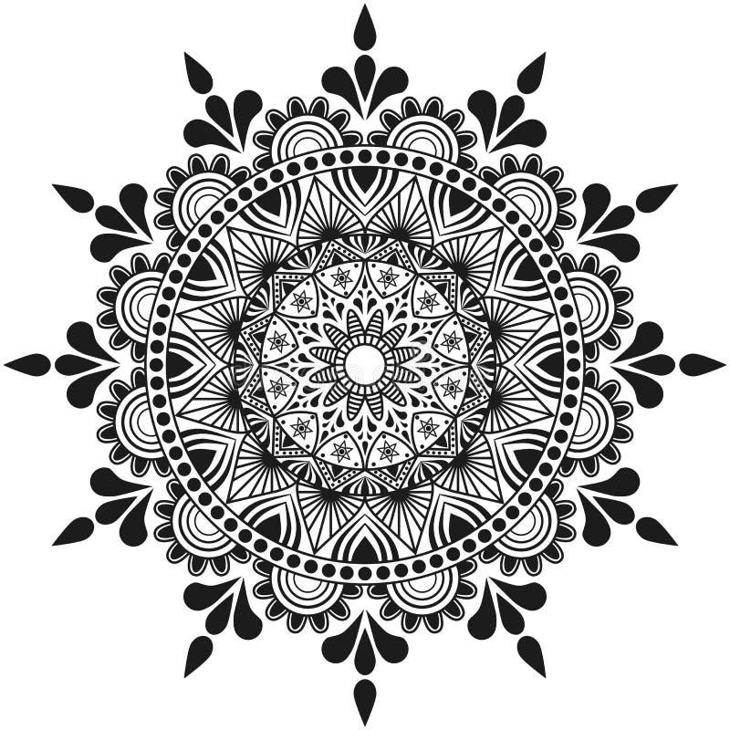 Ornement de mandala de fleurs, indien et Arabe fabriqué à la main illustration stock