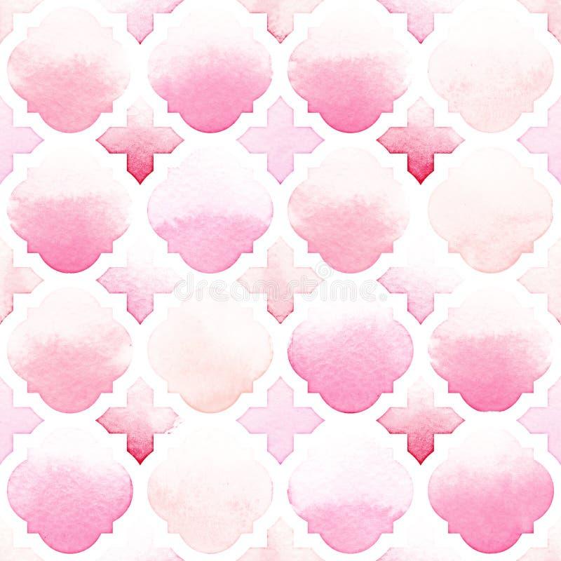 Ornement de Morrocan de couleurs roses sur le fond blanc Modèle sans couture d'aquarelle illustration de vecteur