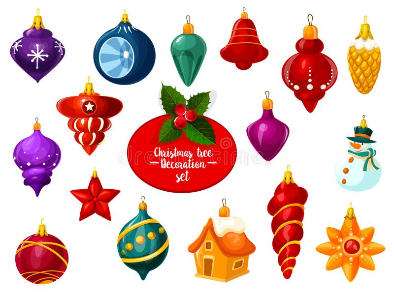 Ornement de Noël, boule et icône de babiole de nouvelle année illustration libre de droits