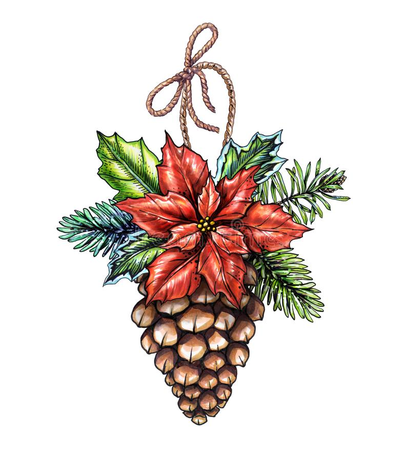 Ornement de Noël d'aquarelle, illustration décorée de cône de pin, illustration de vecteur