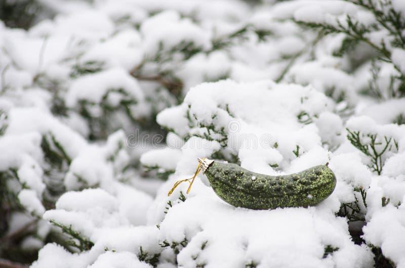 Ornement de Noël de conserves au vinaigre de Noël dans la neige photo stock
