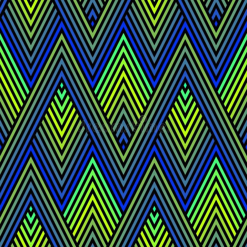 Ornement de plume de paon Modèle sans couture de vecteur avec les lignes colorées de zigzag, rayures, losanges tramés, chevron illustration de vecteur