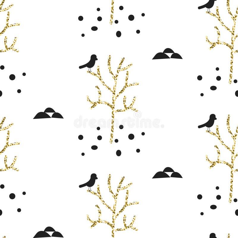 Ornement de Scandinave de scintillement Collection sans couture d'ornement d'or de vecteur illustration stock