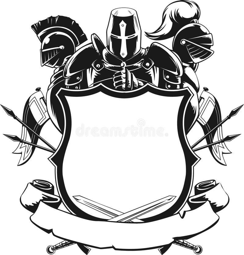 Ornement de silhouette de chevalier et de bouclier illustration libre de droits