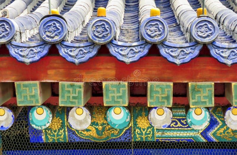 Ornement de toit du temple du Ciel en détail, Pékin, Chine, Asie photos libres de droits