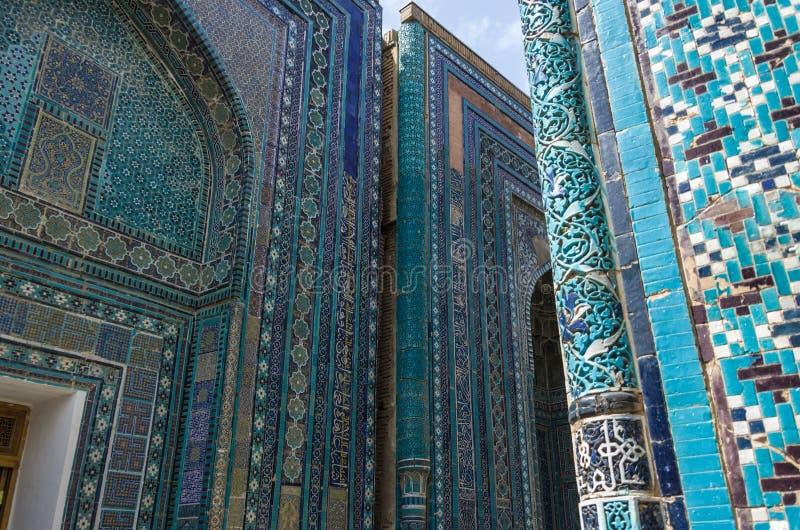 Ornement de tombe dans le complexe commémoratif de Shah-Je-Zinda, nécropole dedans photo stock