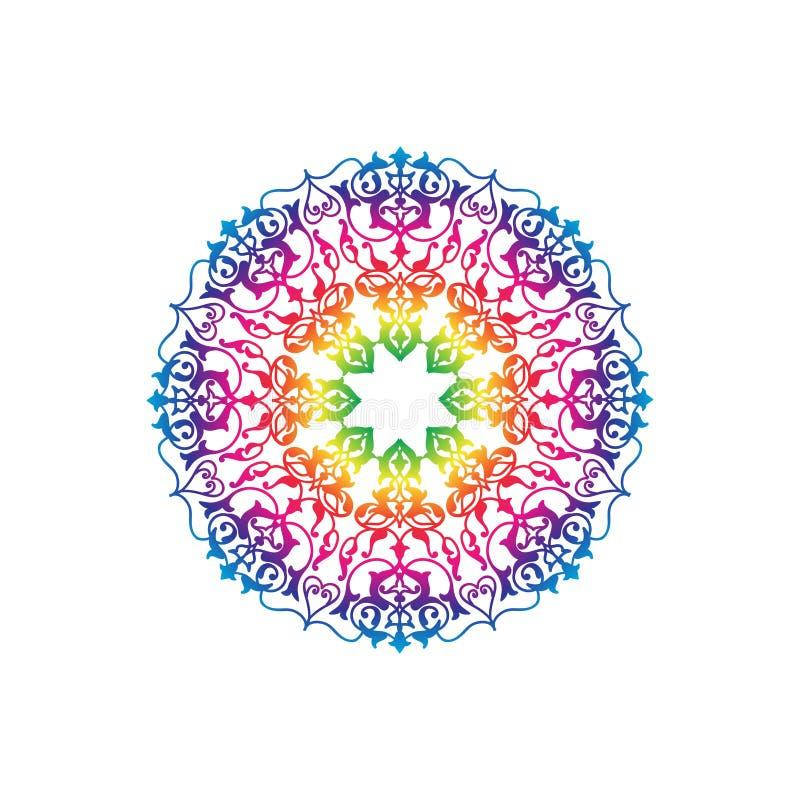Ornement de vacances Modèle multicolore floral Icône de mandala de fleur illustration de vecteur