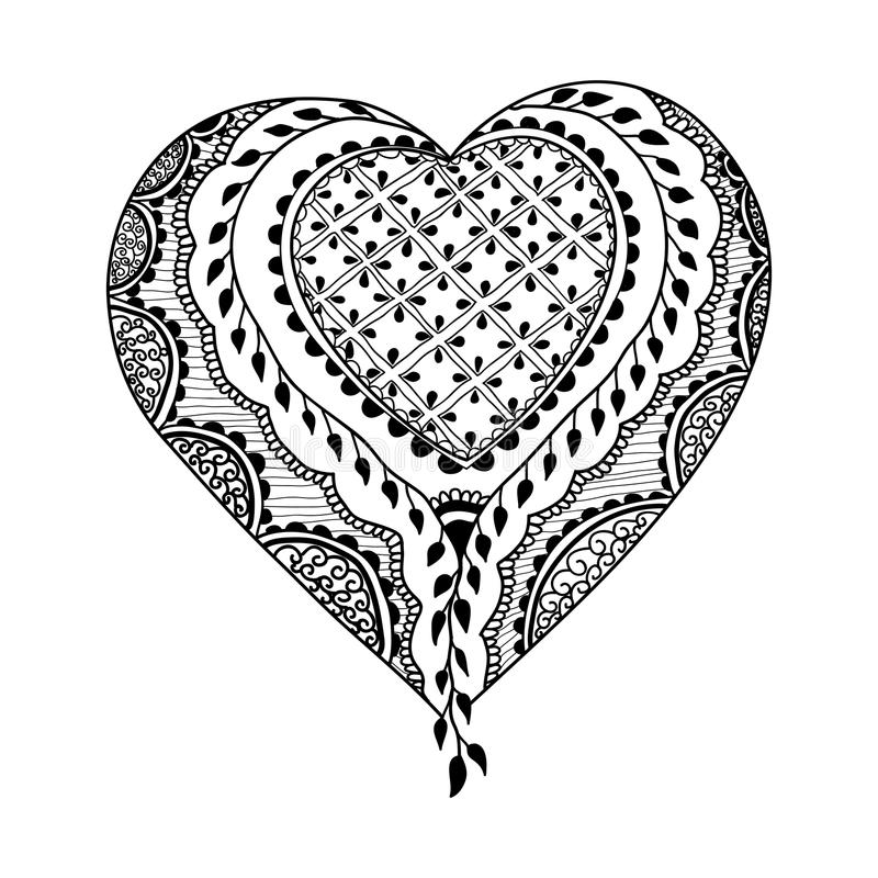 Ornement de vecteur dans le style indien Coeur d'ornamental de Mehndi illustration de vecteur