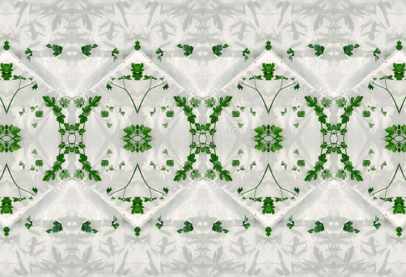 Ornement des feuilles de vert en glace image stock
