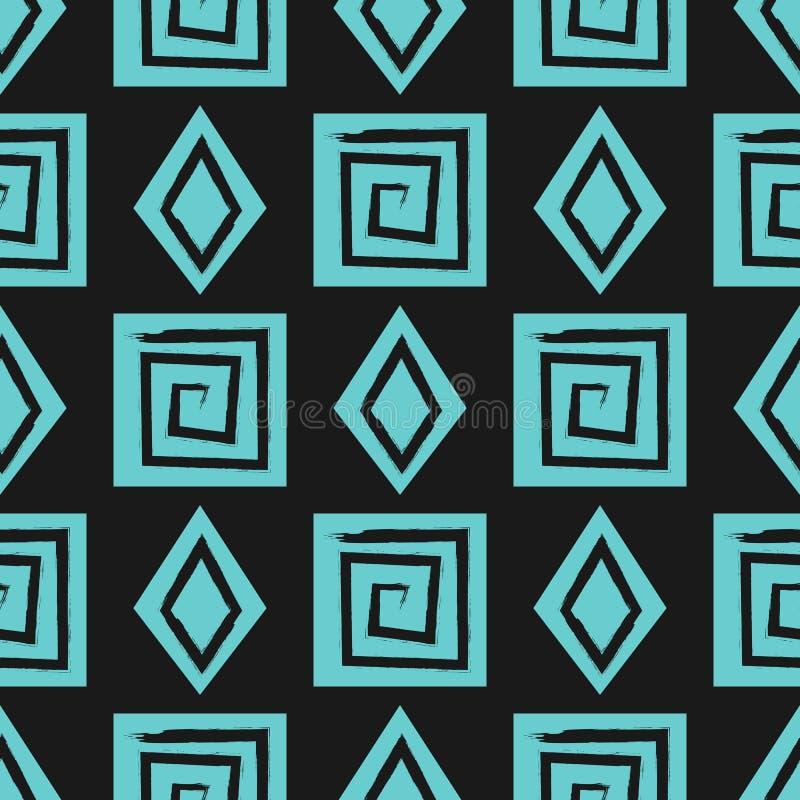 Ornement des spirales carrées et des diamants dessinés à la main avec une brosse rugueuse Grunge, croquis, encre Configuration sa illustration stock