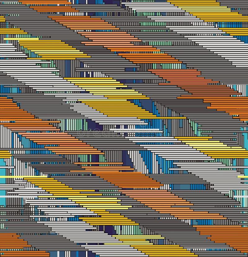 Ornement diagonal abstrait des courses verticales et horizontales illustration libre de droits
