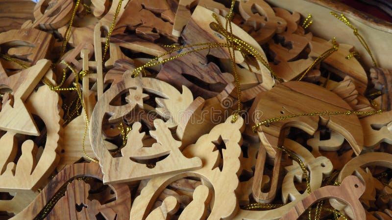 Ornement en bois d'arbre de Noël de scène de nativité image stock