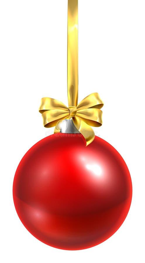 Ornement en verre de boule de Noël de babiole rouge illustration stock