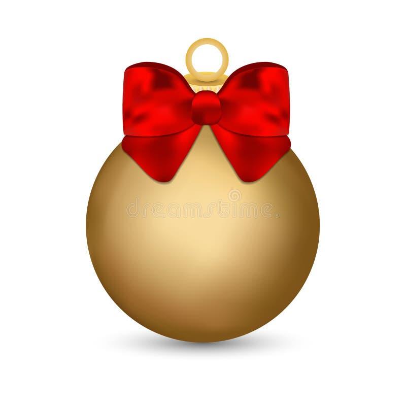 Ornement en verre de boule de Noël en rouge avec un arc et un ruban d'or illustration de vecteur