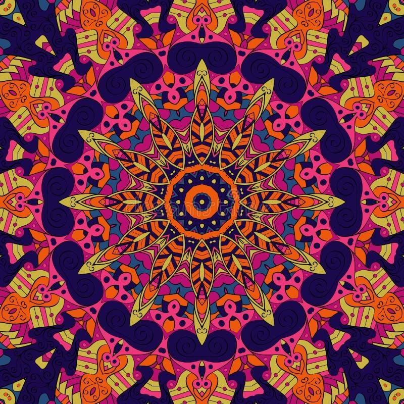 Ornement ethnique de mehndi de filigrane Motif apaisant discret indifférent, conception harmonieuse colorée gribouillante utilisa photographie stock libre de droits