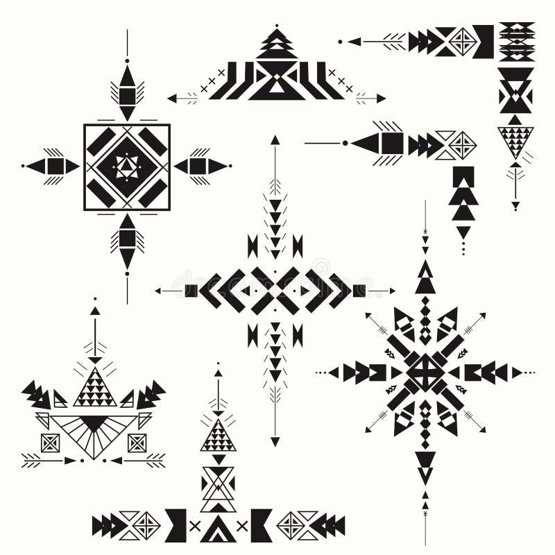 Ornement ethnique tribal de vecteur Éléments aztèques de décor Conception d'isolement sur le fond en pastel Éléments plats de déc illustration stock