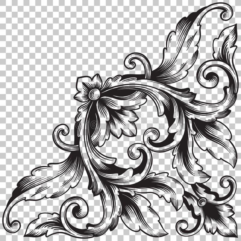 Ornement faisant le coin d'isolat dans le style baroque illustration libre de droits