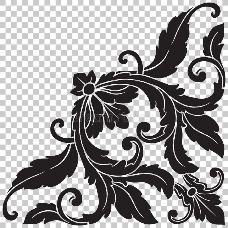 Ornement faisant le coin d'isolat dans le style baroque illustration de vecteur